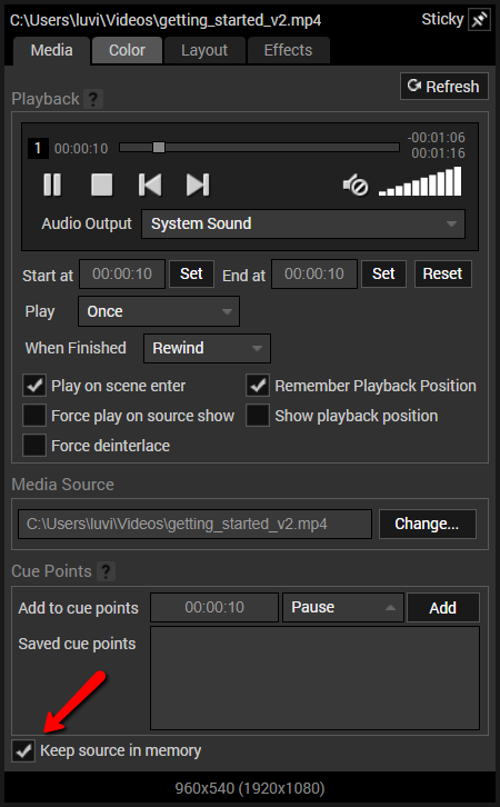 keep source in memory option