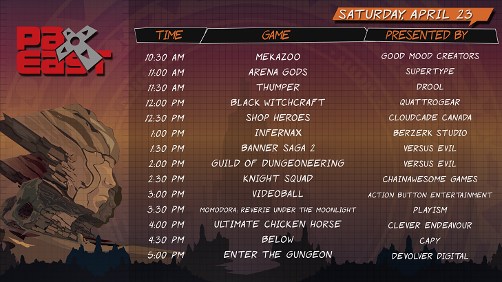 PAX East 2016 Saturday Schedule