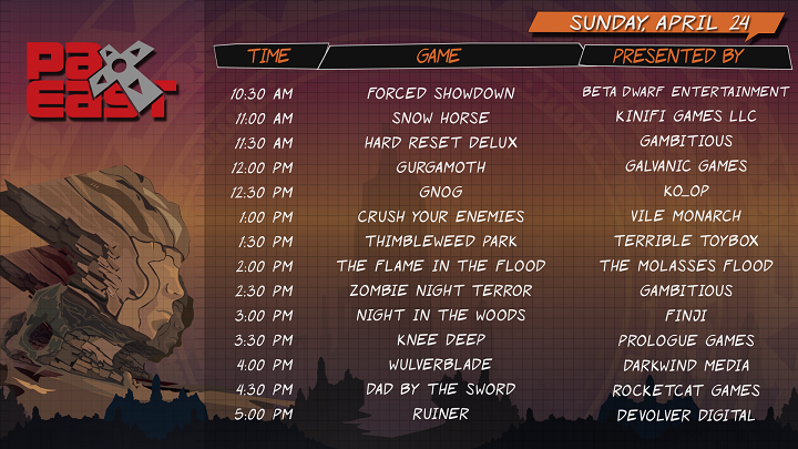 PAX East 2016 Sunday Schedule