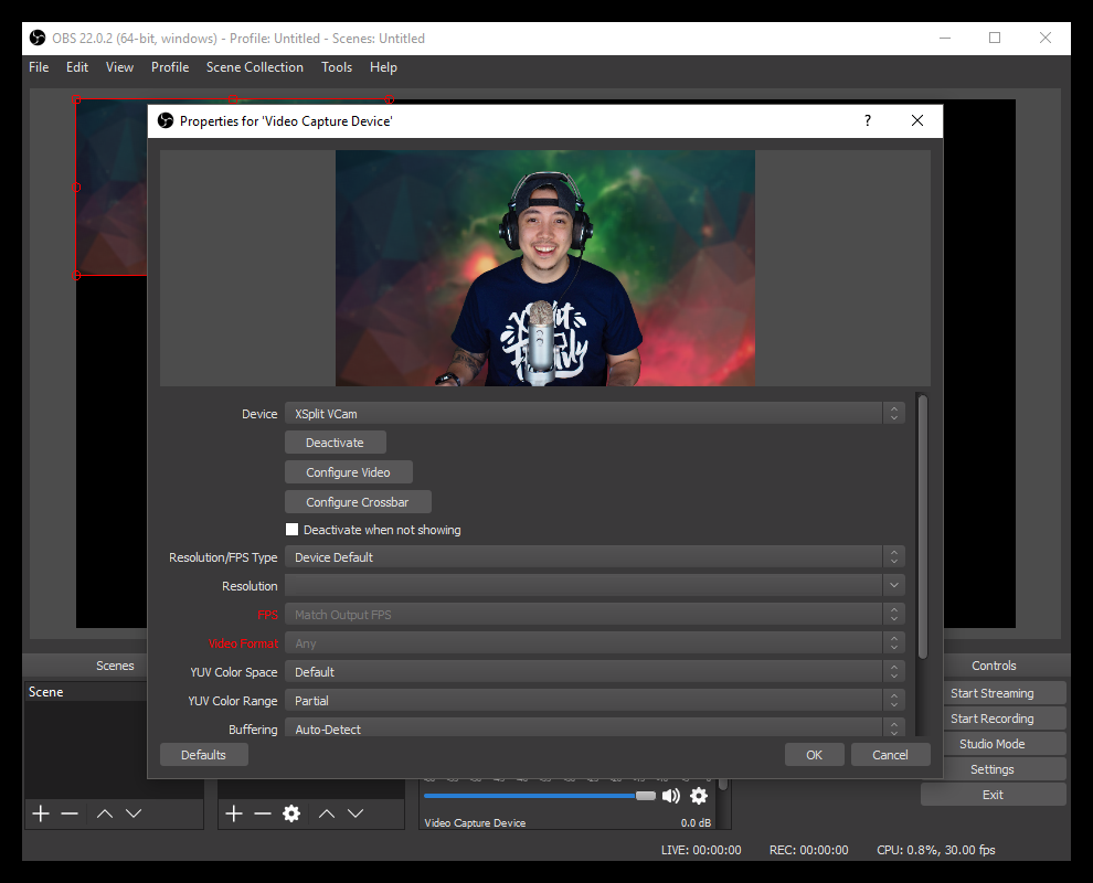 Use VCam in OBS