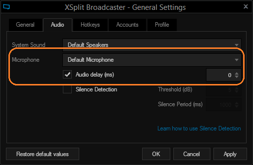 XSplit Broadcaster General Settings Microphone