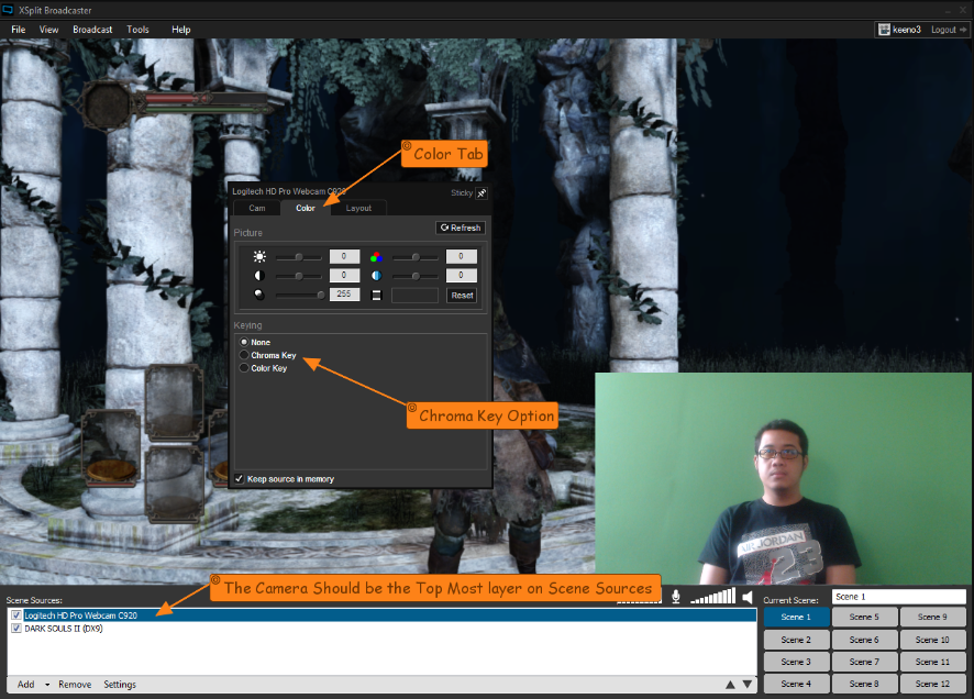 guide on how to activate chroma key in XSplit Broadcaster