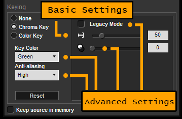 basic and advanced chroma key settings