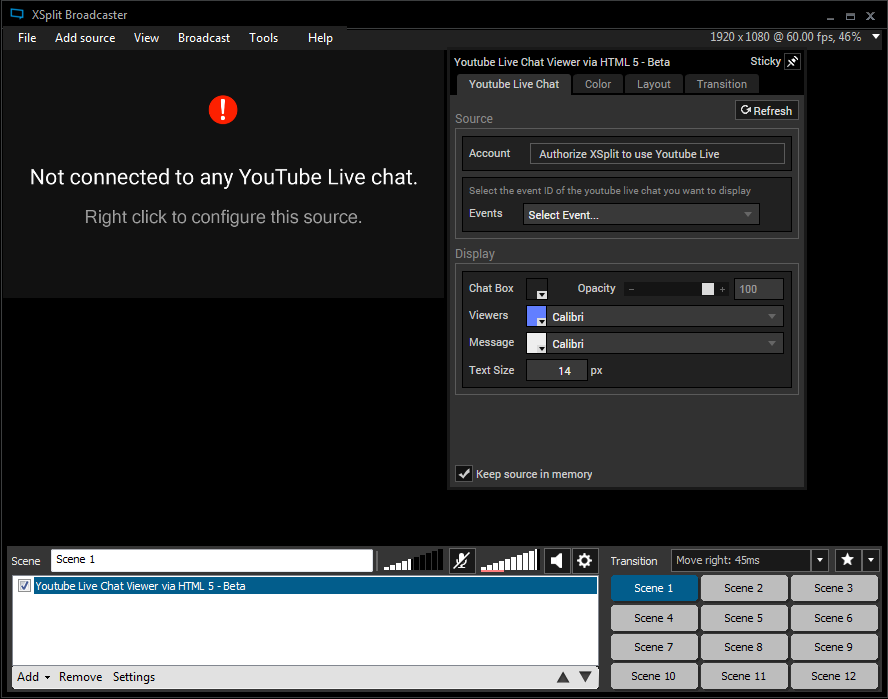 XSplit Broadcaster YouTube Live Chat Viewer